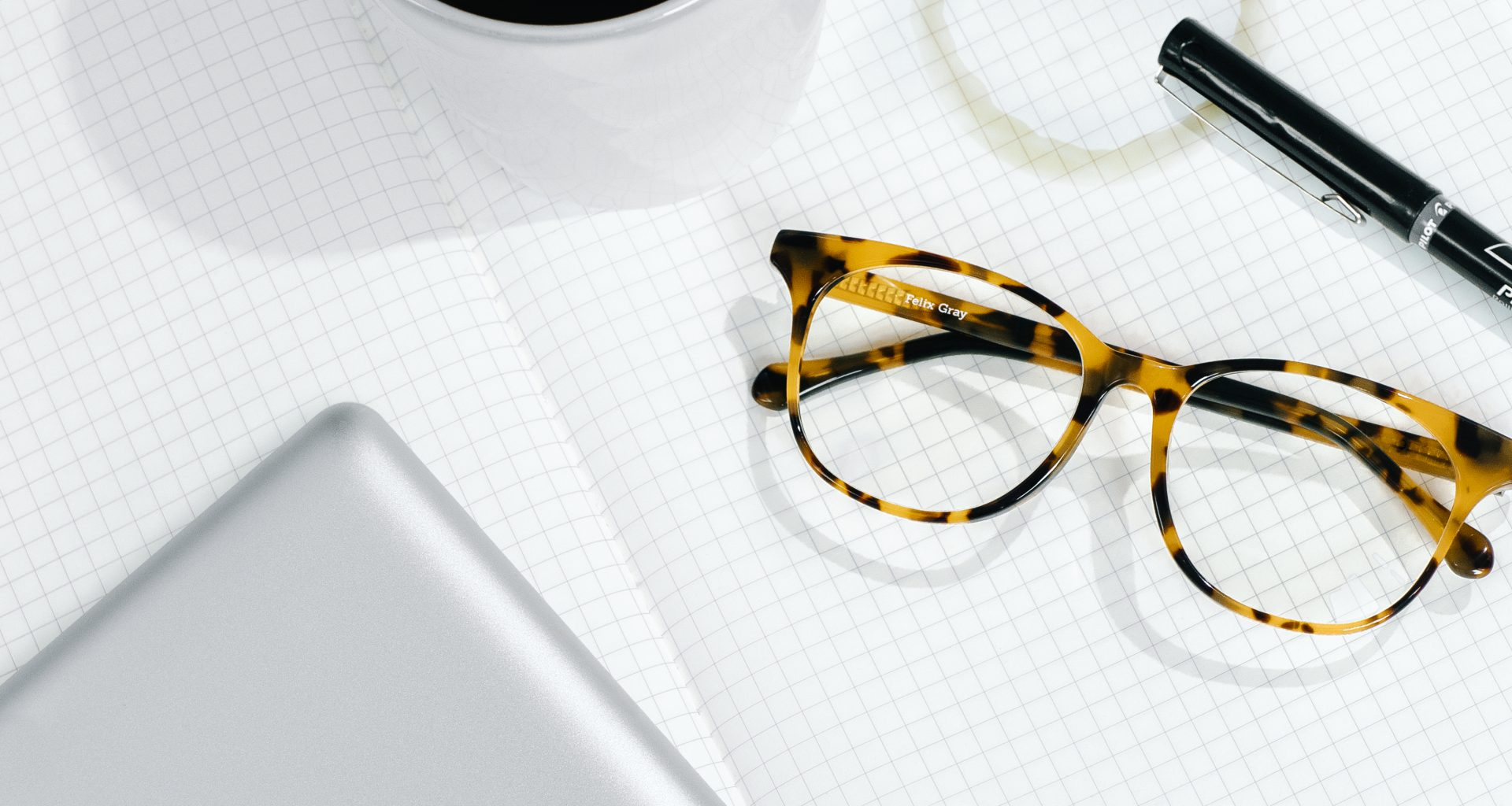 Felix Gray Glasses with iPad and pen