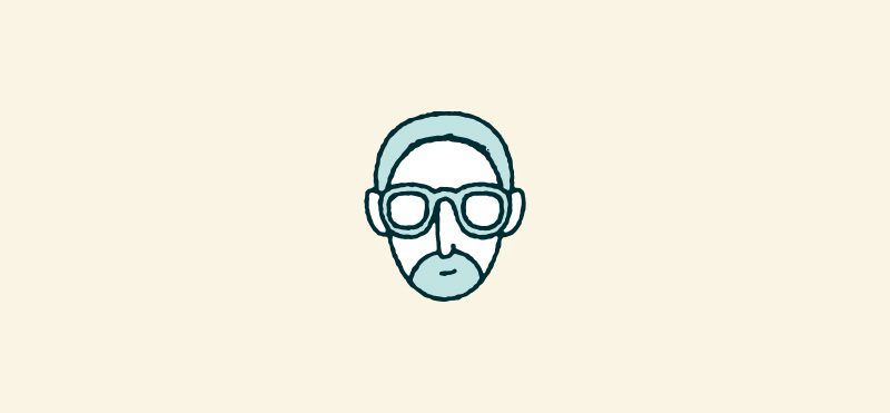 Illustrations of a man with an oval face wearing glasses